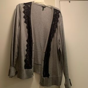 Gray Cardigan with Black Lace